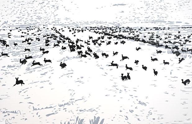 10 jahre massaker druckgrafik von Friederike Hinz schwarz-weiß