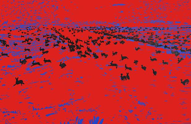 10 jahre massaker druckgrafik von Friederike Hinz rot-schwarz-blau